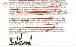 Bức thư gửi ông Kim Jong Un sai chi chít lỗi ngữ pháp bị chấm điểm F của Tổng thống Trump