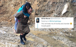 Cựu Thủ tướng Bhutan đăng ảnh cõng vợ qua đoạn đường lầy khiến cộng đồng mạng thốt lên kinh ngạc