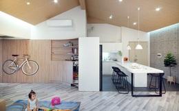 """Ngôi nhà 2 tầng mái dốc với trần bằng gỗ """"ẩn mình"""" trong căn hộ chung cư 103m² ở Hà Nội"""