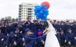 700 lính cứu hỏa Trung Quốc xếp hình trái tim trong đám cưới của đồng đội