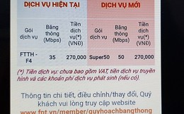 FPT tự chuyển đổi gói dịch vụ, tăng cước Internet: Cùng một băng thông, mỗi khách hàng một giá!