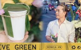 """Gánh hàng nước nói không với đồ nhựa của anh chàng """"vừa lạ vừa quen"""" ở Nha Trang: Thay nắp nhựa bằng... bánh tráng"""