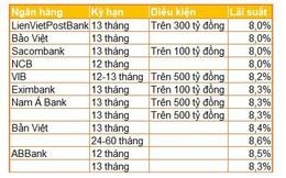 Ngân hàng đua hút tiền kỳ hạn 12-13 tháng, chỉ áp dụng cho khoản gửi 100-500 tỷ đồng