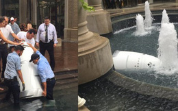 """Robot tuần tra an ninh """"tự tử"""" tại đài phun nước công cộng, có lẽ vì công việc """"quá áp lực""""?"""