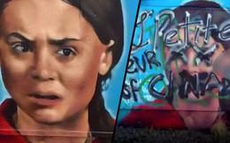 Bức bích họa vinh danh nhà hoạt động môi trường trẻ tuổi Greta Thunberg bị bôi bẩn chỉ sau vài giờ xuất hiện