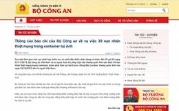 Bộ Công an: 39 nạn nhân chết trong container ở Anh đều là người Việt Nam